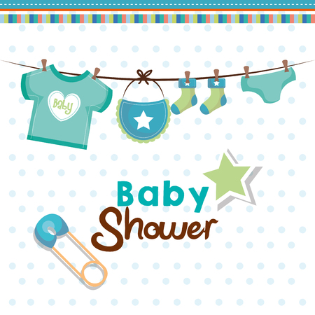 Baby shower card with hanging teal baby clothing, safety pin and star over white dotted background. Vector illustration. Ilustração