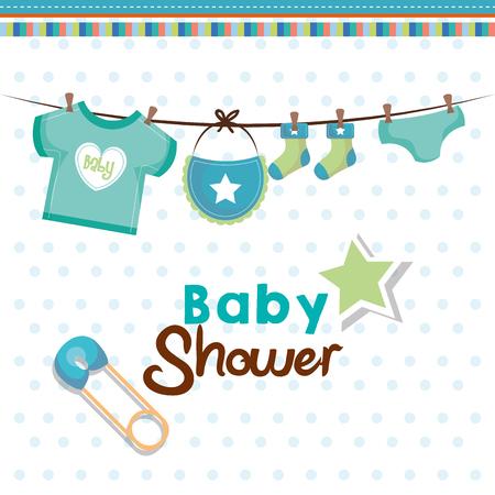 Tarjeta de la ducha de bebé con la ropa colgante del bebé del trullo, perno de seguridad y estrella sobre el fondo punteado blanco. Ilustración vectorial