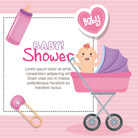 Baby shower card with baby in stroller, safety pin, heart and bottle over pink striped background. Vector illustration. Illustration