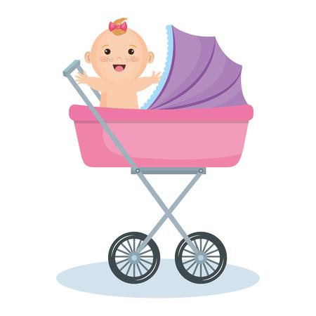 Leuk babymeisje in roze wandelwagen over witte achtergrond. Vector illustratie.