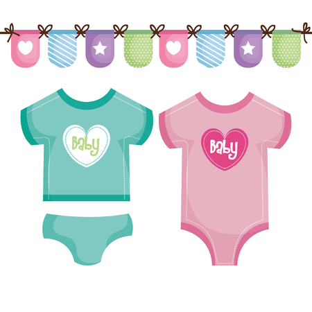 Teal and pink baby clothing with decorative banner over white background. Vector illustration.