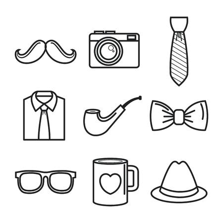 Hand-drawn objects for men set over white background. Vector illustration. Çizim