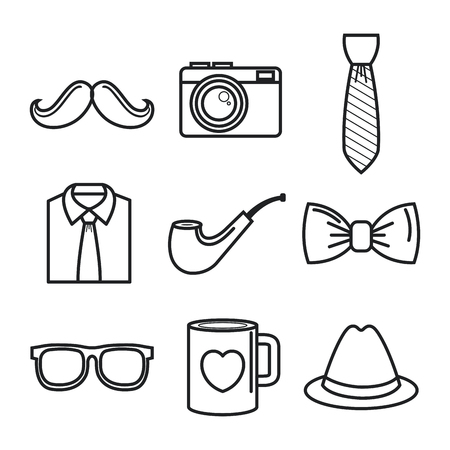 Hand-drawn objects for men set over white background. Vector illustration. Illustration