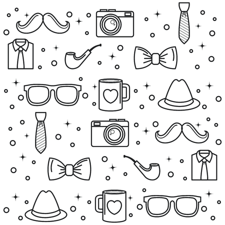 Hand-drawn objects for men pattern over white background. Vector illustration.