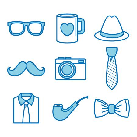 Blue objects for men set over white background. Vector illustration.