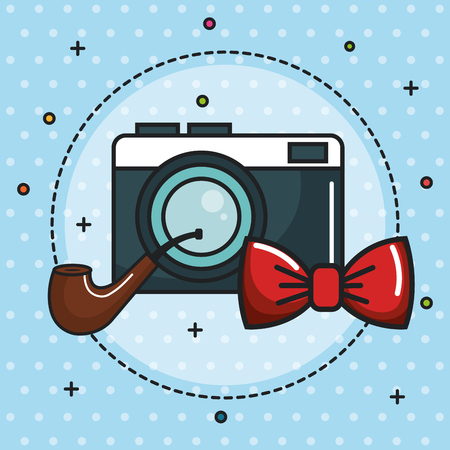 Vintage camera, pipe and red bowtie icon over blue dotted background. Vector illustration.