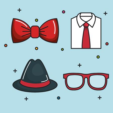 Pajarita roja, camisa formal, sombrero de fieltro y gafas sobre fondo azul. Ilustración vectorial