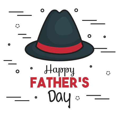 Happy father day card with trilby hat over white background. Vector illustration.