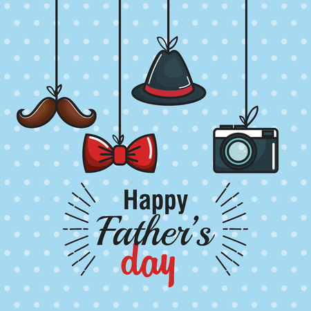 Happy father day card with hanging mustache, bowtie, trilby hat and vintage camera over blue dotted background. Vector illustration.