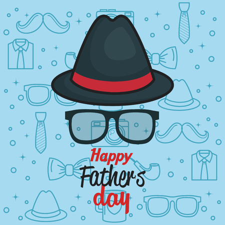 Happy father day card with trilby hat and glasses over blue background with objects for men silhouettes. Vector illustration. Illustration