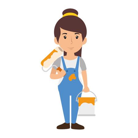 Woman worker cartoon icon vector illustration graphic design