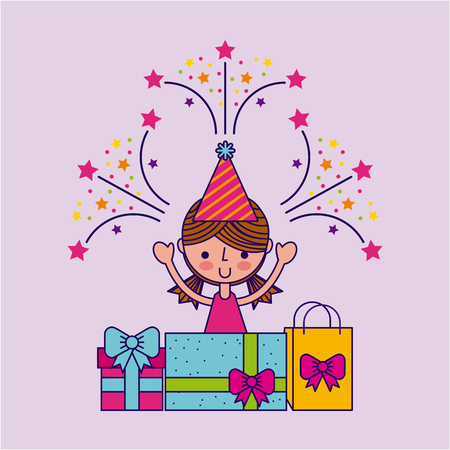 young girl with gifts party or celebration happy birthday related icons image vector illustration design