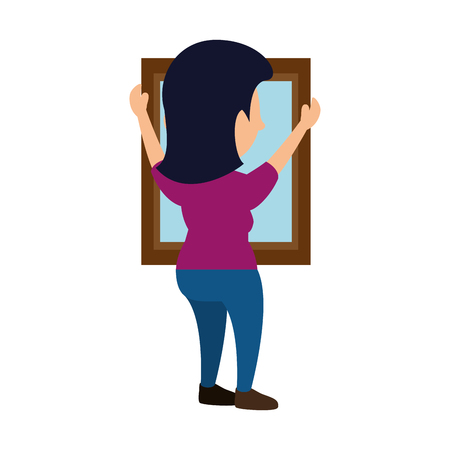 Woman putting a mirrow icon vector illustration graphic design Ilustração