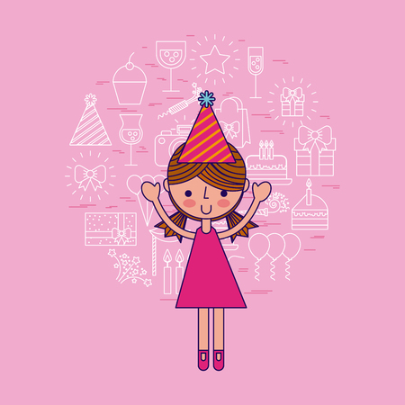young girl party or celebration happy birthday related icons image vector illustration design