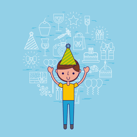 young boy party or celebration happy birthday related icons image vector illustration design