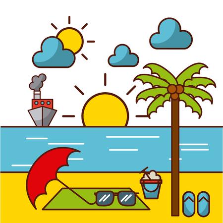 열 대 해변 및 관련 아이콘 이미지 벡터 일러스트 디자인 일러스트