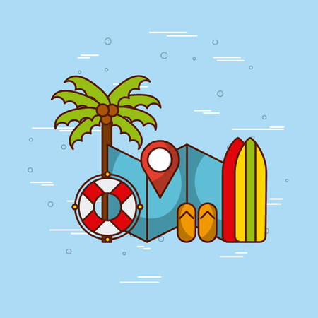 tropical beach and related icons image vector illustration design Иллюстрация
