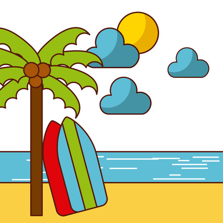 tropical beach and related icons image vector illustration design
