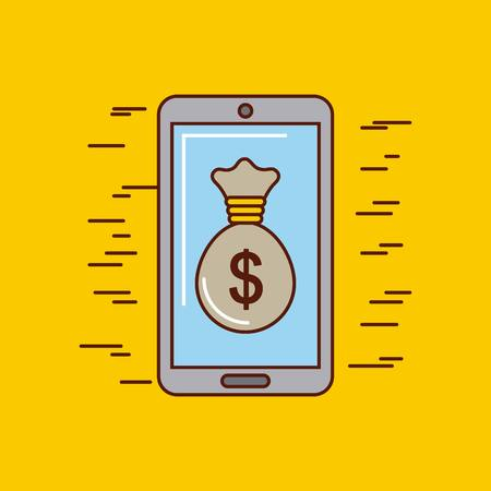 Cellphone and sack money or economy related image vector illustration design