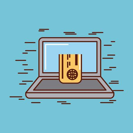 computer with money or economy related image vector illustration design Illustration