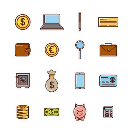 set of money or economy related image vector illustration design