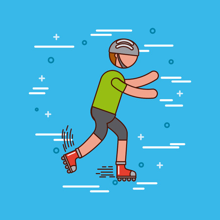 roller skating sports or exercise imagevector illustration design