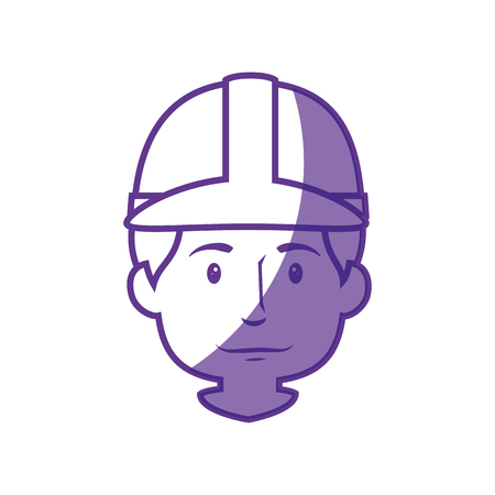 Construction worker with safety helmet icon over white background. vector illustration Stock Vector - 77784509
