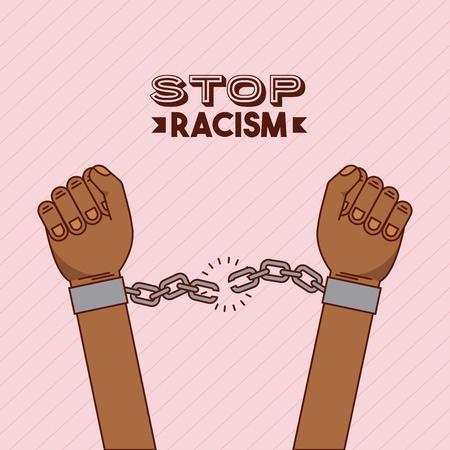 손과 사슬 중지 인종 차별 이미지 벡터 일러스트 레이 션 디자인