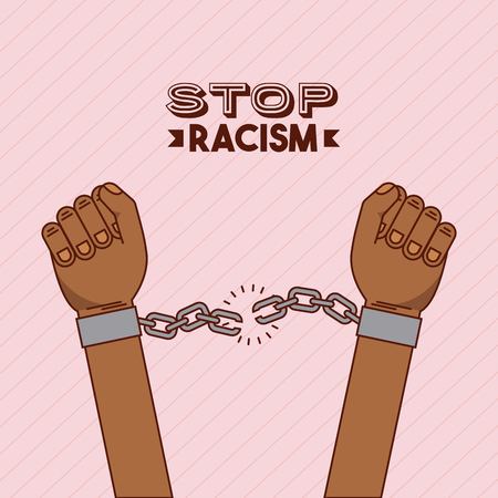hand and chain stop racism image vector illustration design