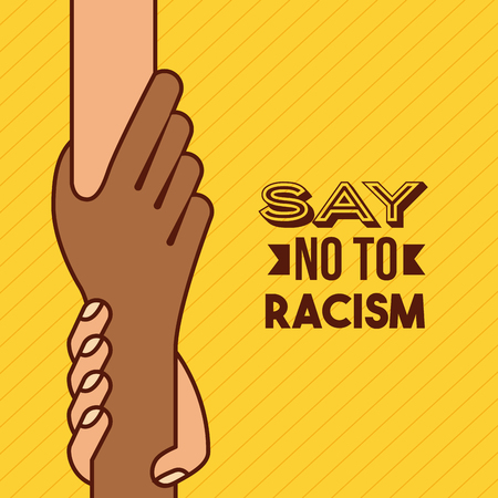 protest poster: say no to stop racism image vector illustration design