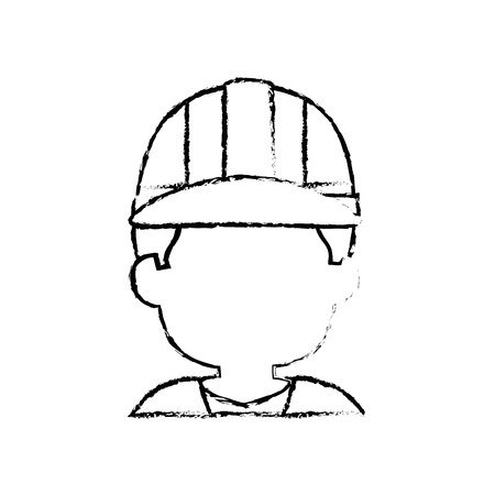 Construction worker with safety helmet icon over white background. vector illustration 向量圖像