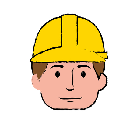 Construction worker with safety helmet icon over white background. colorful design. vector illustration