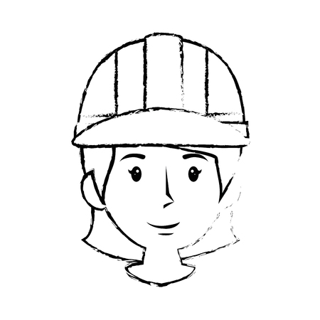 Construction worker with safety helmet icon over white background. vector illustration Illustration