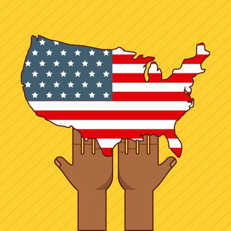 손을 잡고 미국 국기를 중지 인종 차별 이미지 벡터 일러스트 레이 션 디자인
