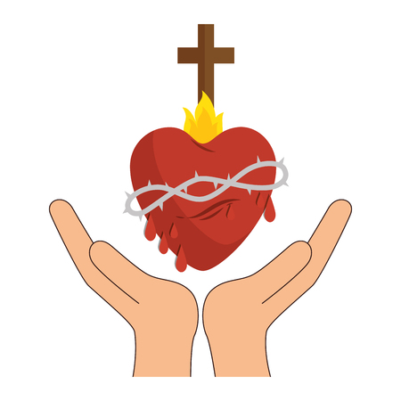hands with sacred heart and christian cross icon over white background. colorful design. vector illustration