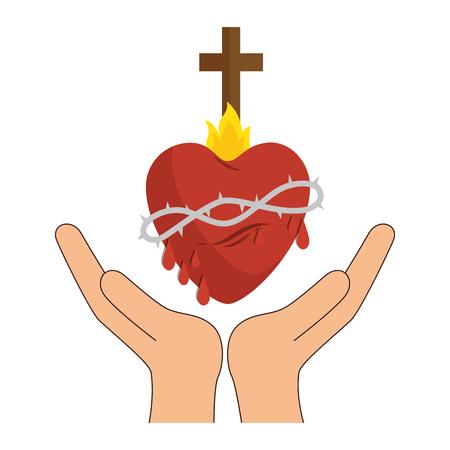Les mains avec le coeur sacré et l'icône de croix chrétienne sur fond blanc. Design coloré. Illustration vectorielle Banque d'images - 77778280