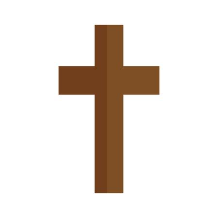 Christian cross symbol icon over white background. colorful design. vector illustration Иллюстрация