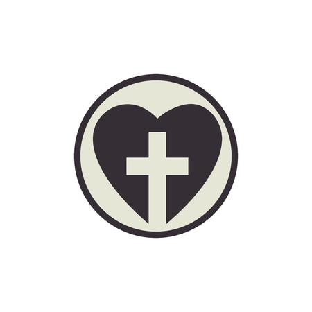 흰색 배경 위에 기독교 십자가 아이콘으로 마음입니다. 벡터 일러스트 레이 션