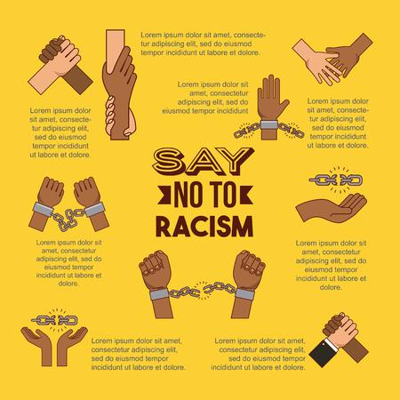 infographic 인종 차별주의 이미지 벡터 일러스트 레이션 디자인을 중지하려면 안돼
