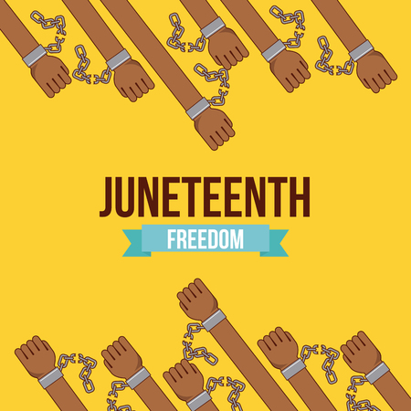 interracial: juneteenth freedom day  stop racism image vector illustration design