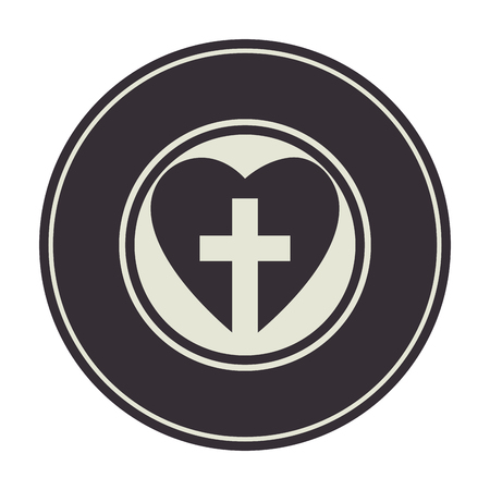 heart with christian cross icon over white background. vector illustration