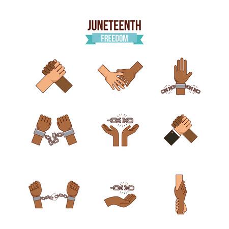 Juneteenth Freiheit Tag Stop Rassismus Bild Vektor-Illustration Design Vektorgrafik