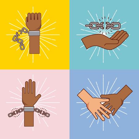 racismo: Libertad, parada, racismo, imagen, vector, Ilustración, diseño Foto de archivo