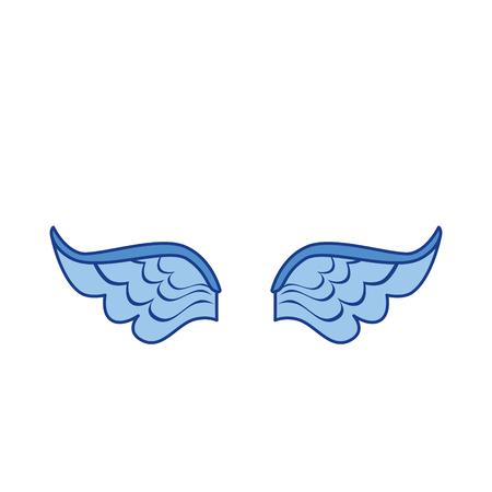 흰색 배경 위에 날개 아이콘입니다. 화려한 디자인입니다. 벡터 일러스트 레이 션