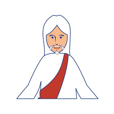 Jesus Christus Mann Mann über weißem Hintergrund. Buntes Design. Vektor-Illustration