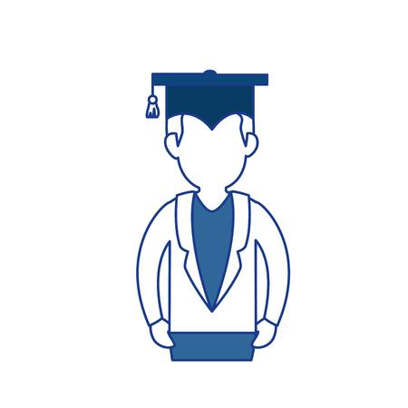 Estudiante con el icono del casquillo de la graduación sobre el fondo blanco. ilustración vectorial