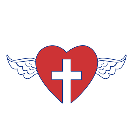 heart with wings and christian cross symbol icon over white background. colorful design. vector illustration