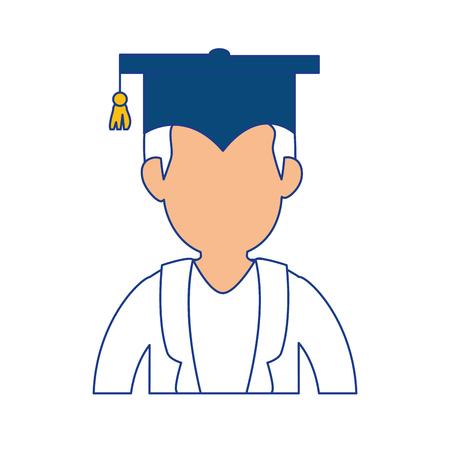 学生卒業キャップ アイコン白背景の上。ベクトル図
