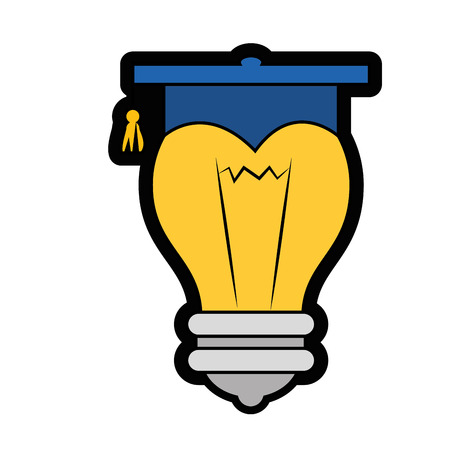 bulb with graduation cap icon over white background. vector illustration