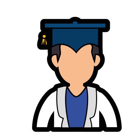 흰색 배경 위에 졸업 모자 아이콘을 가진 학생. 화려한 디자인. 벡터 일러스트 레이 션 일러스트